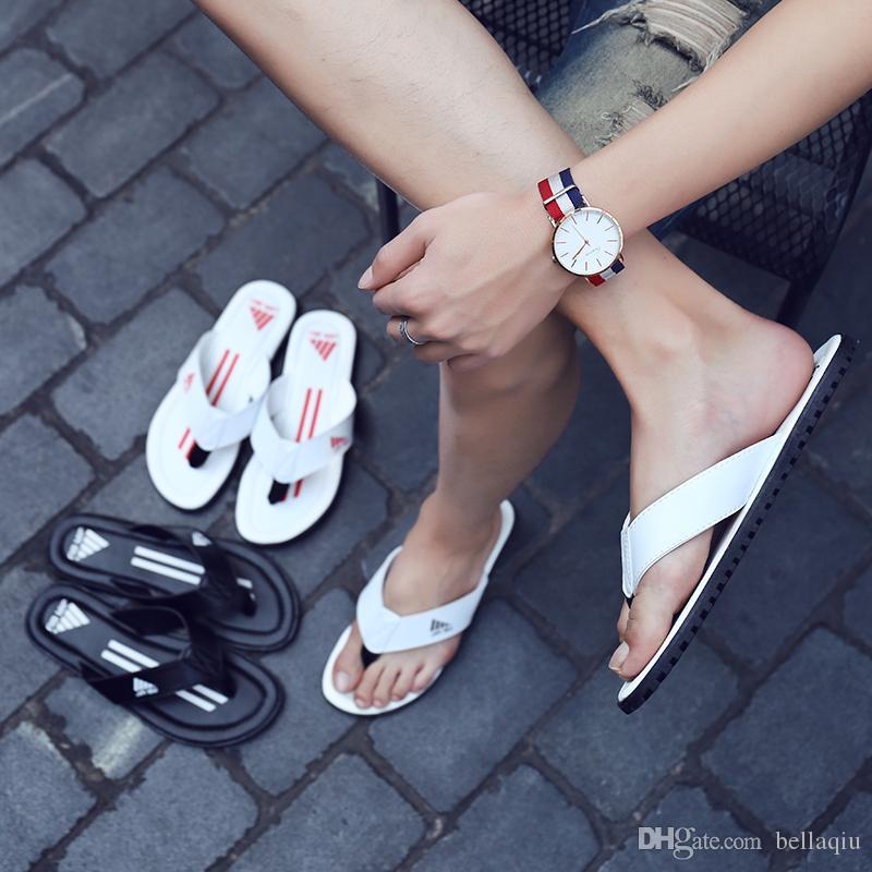 Sommer Streifen Flip Flops Schuhe Sandalen Männlichen Casual Slipper Flip-Flops Sandalen Neue Mode Indoor Outdoor Strand Schuhe bestnote leder