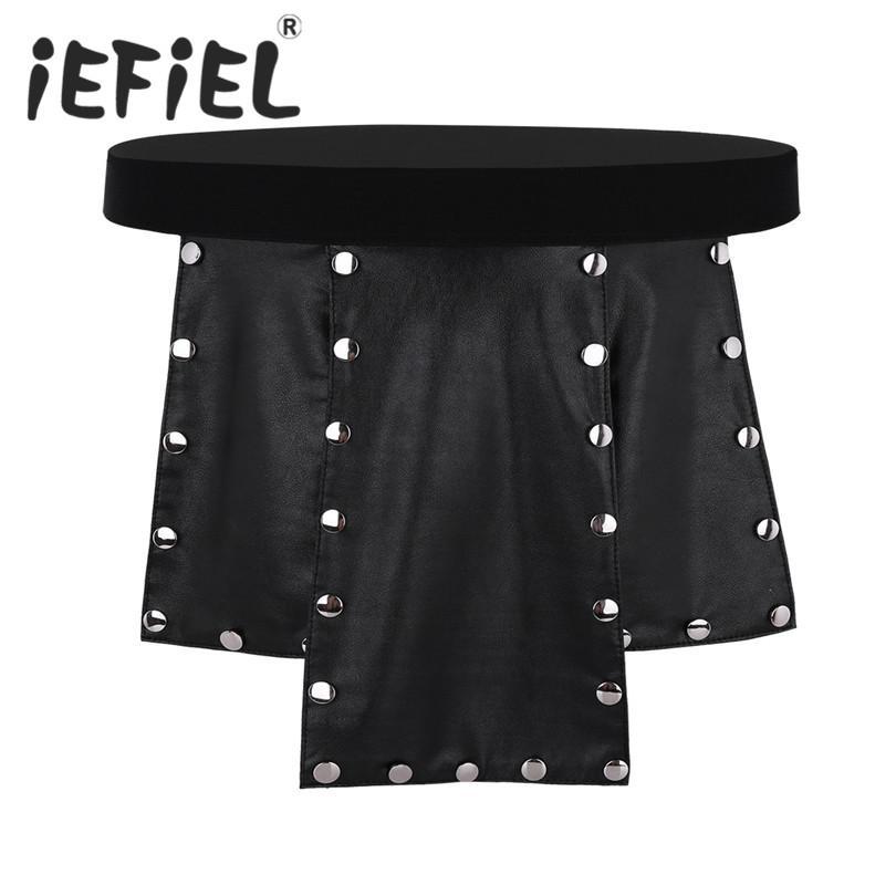 IEFiEL Sexy Mens Lingerie Novità Soft 6 Panel Ecopelle Low Rise in metallo con borchie Kilt Intimo Gay Uomo slip maschili Mutande
