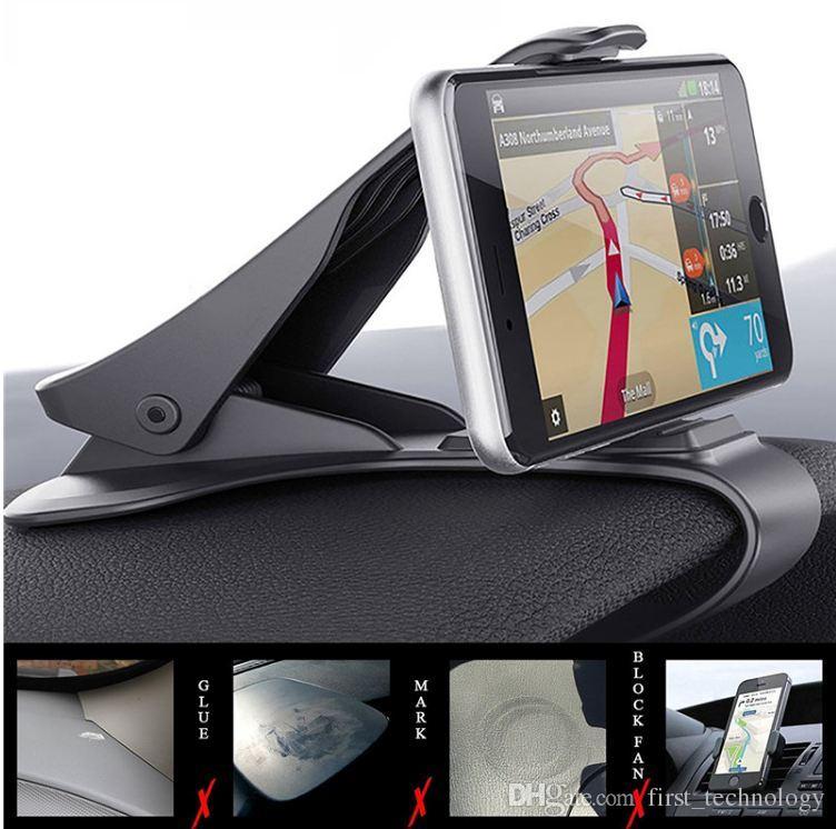 유니버셜 Antiskid 자동차 전화 홀더 클립 HUD 디자인 대시 보드 조절 마운트 아이폰 X 8 7 6 플러스 삼성 전화 스탠드 브라켓