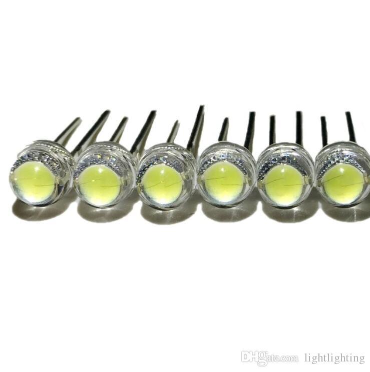 100pcs / lot blanco de 5 mm de paja F5 LED sombrero de granos de la lámpara super brillante 6-7LM grandes diodos emisores de luz chip de núcleo (LEDs) para las luces de bricolaje