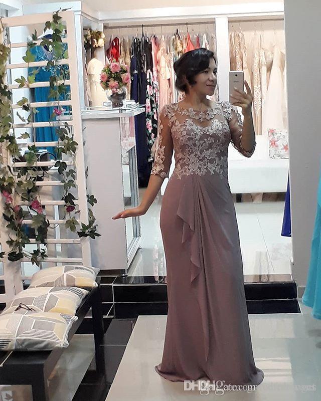 compre 2019 elegante vaina gasa madre de los vestidos de novia