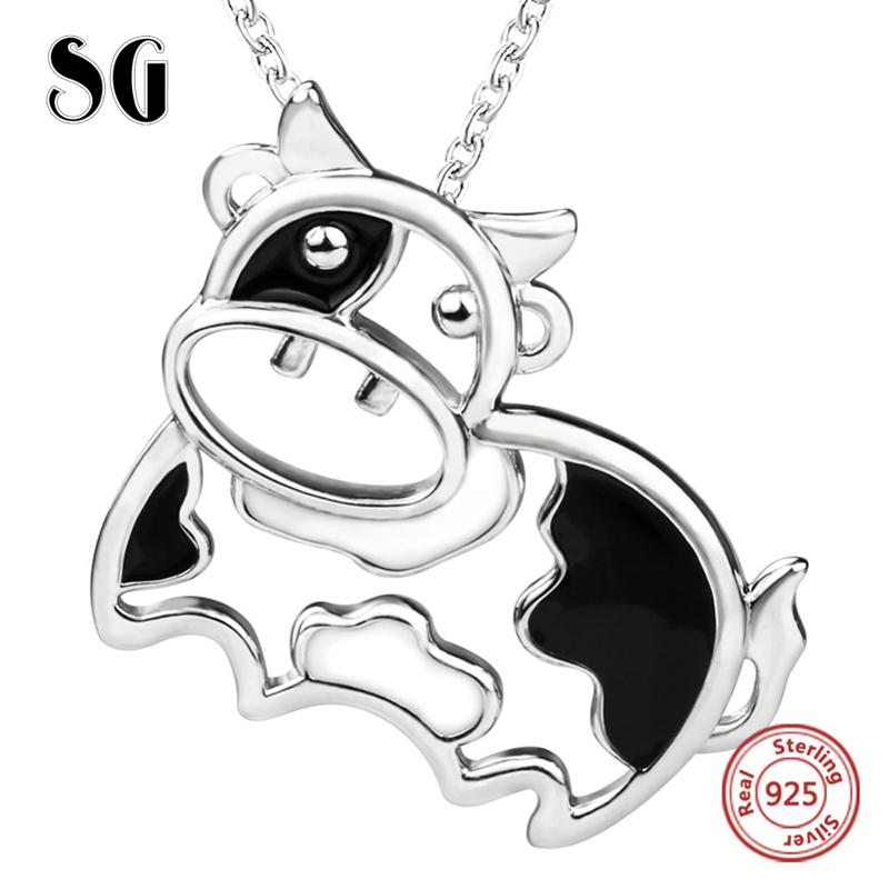 2018 sterling silver 925 lovely animal cows chain pendant&necklace with black enamel diy fashion jewelry making for women gift