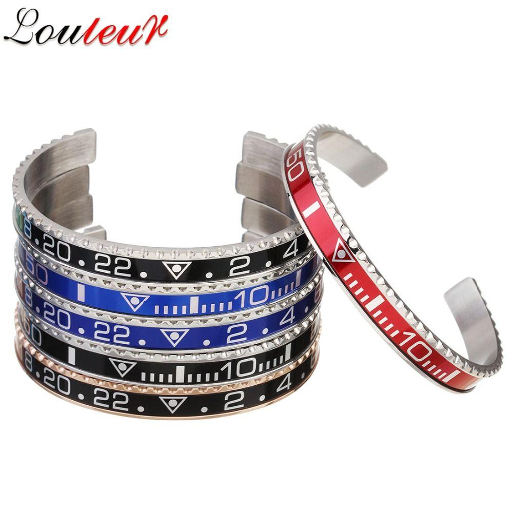toute saleLouleur 2018 Italian Style New 316L Bracelet en acier inoxydable Hommes Femmes Bracelet Tachymètre Ouvrir Bangles Bijoux