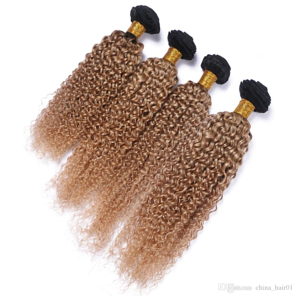 Virgin Peruvian Honey Blonde Ombre Human Hair Weft Extensions Kinky Curly #1B/27 Light Brown Ombre Human Hair Weave Bundles 4Pcs Lot
