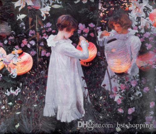 John Singer Sargent - Oeillet Lily Lily Rose enfants HD imprimé peint à la main peinture à l'huile Art sur toile de haute qualité Wall Art p371