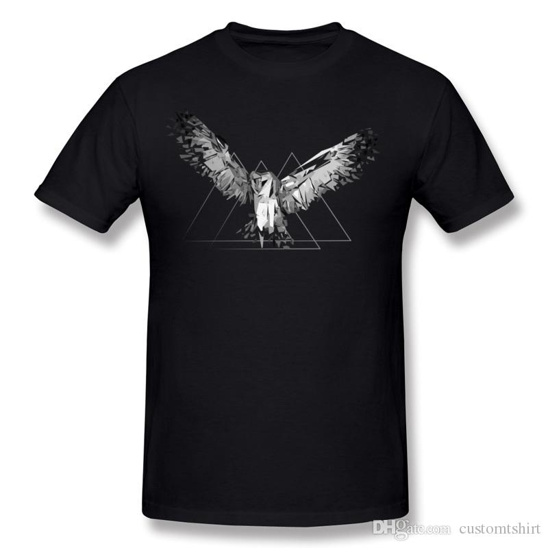 Classic Man Pure cotton Fragmented owl Tee-Shirts Man O-Neck Black Short Sleeve Tshirt Plus Size Simple Style Tee-Shirts