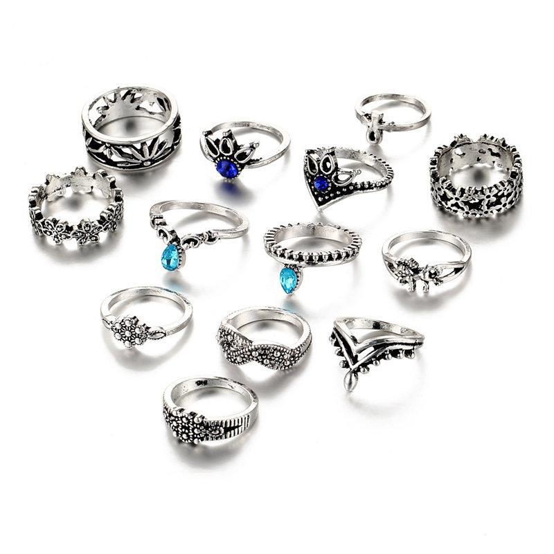 IF-ME-13PCs-set-Bohemian-Flower-Ring-Sets-for-Women-Vintage-Retro-Silver-Color-Lotus-Blue