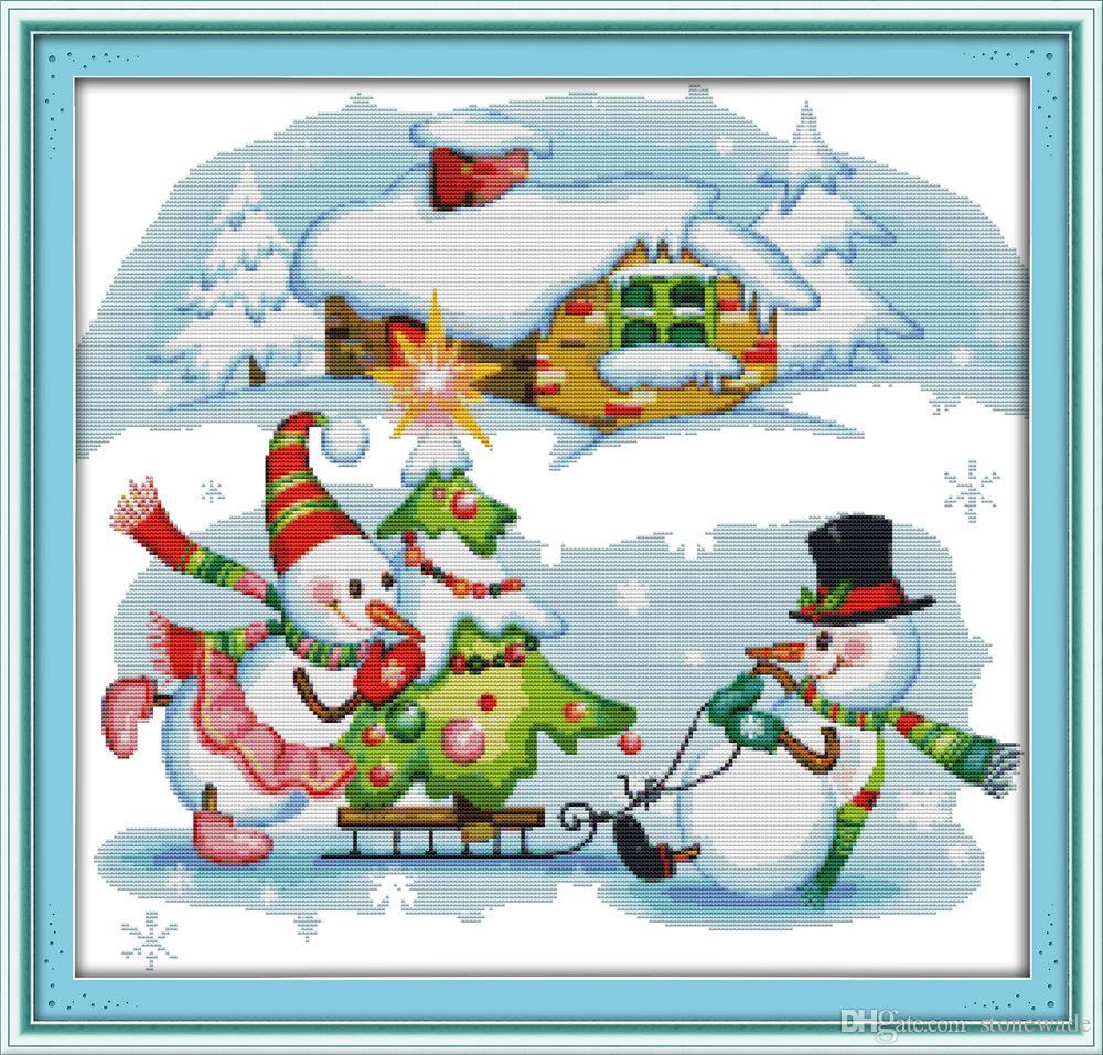 Boneco de neve do natal dos desenhos animados home decor pinturas, Handmade Cross Stitch Bordado conjuntos de costura contados impressão sobre tela DMC 14CT / 11CT