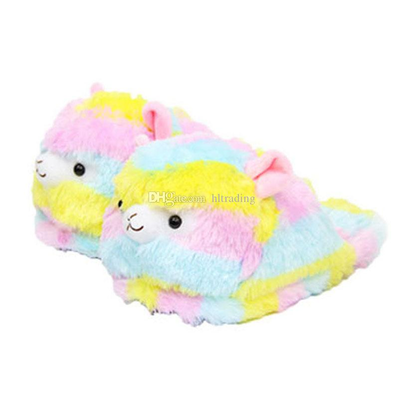 Llama Arpakasso Peluş Terlik Gökkuşağı Alpaka Yarım topuk büyük çocuklar için Yumuşak Sıcak Ev Kış flip flop Ayakkabı 28 cm C5126