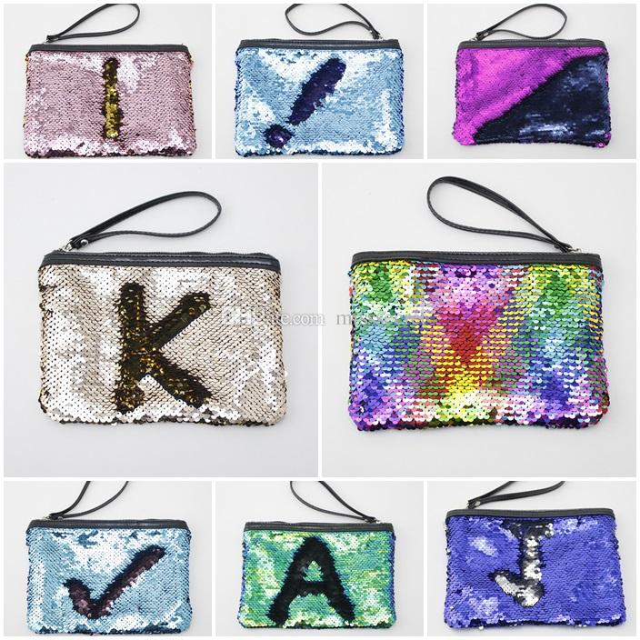 Mermaid Sequin Cosmetic Bag Glitter Makeup Purse Pouch Pocket Clutch Evening Bling Bags Storage Organizer Glitter Bling Handbag for Makeup