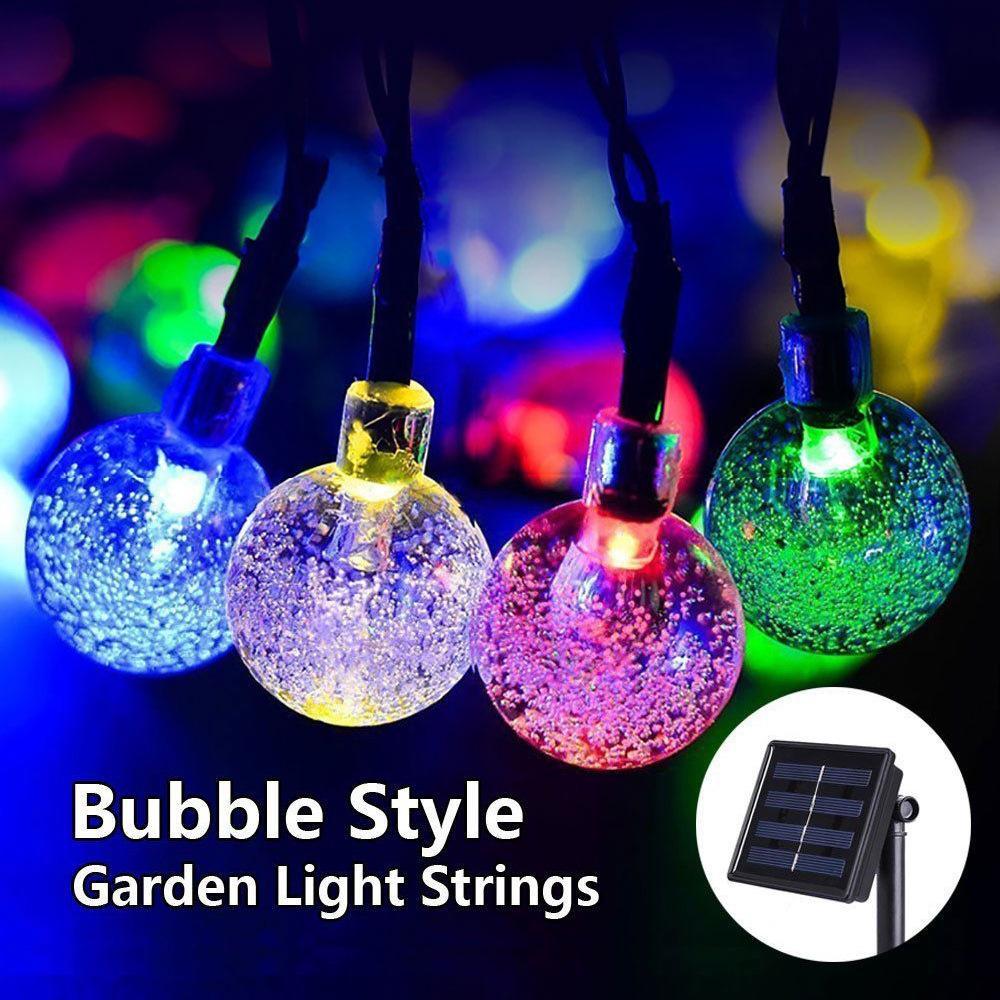 솔라 램프 문자열 30LED 버블 비드 시리즈 축제 결혼 야외 안뜰 장식 에너지 절약형 컬러 램프