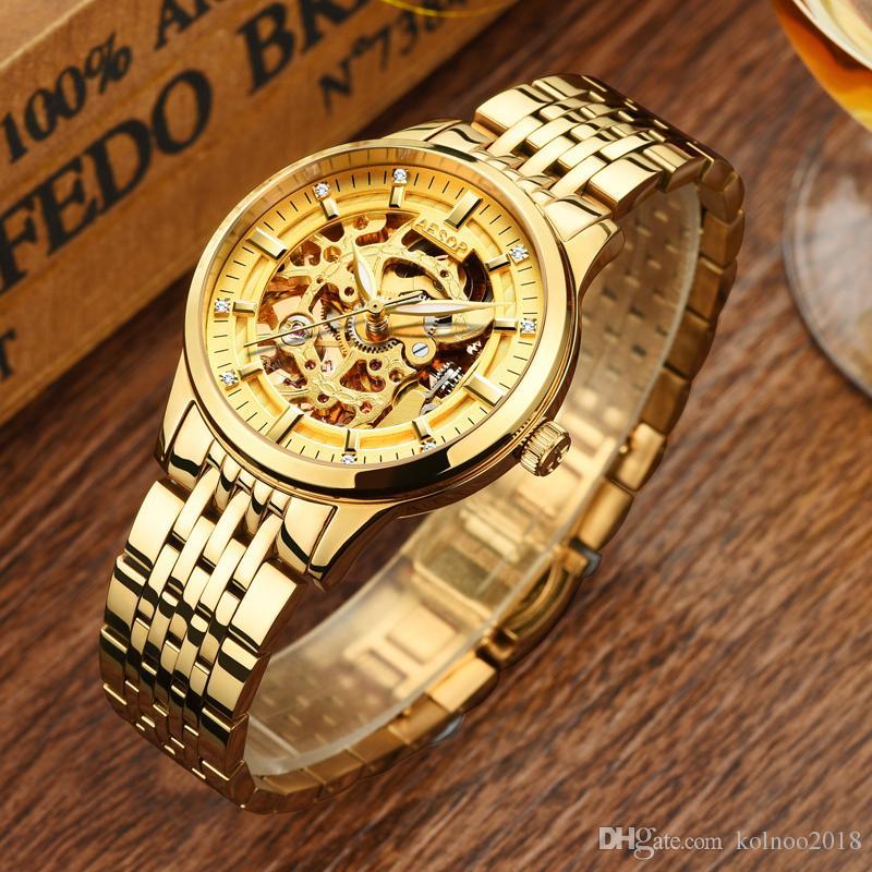AESOP New Fashion Watch Women Automatic Mechanical Wrist Wristwatch Gold Novelties Ladies Clock Montre Femme Relogio Feminino New 46 9005l