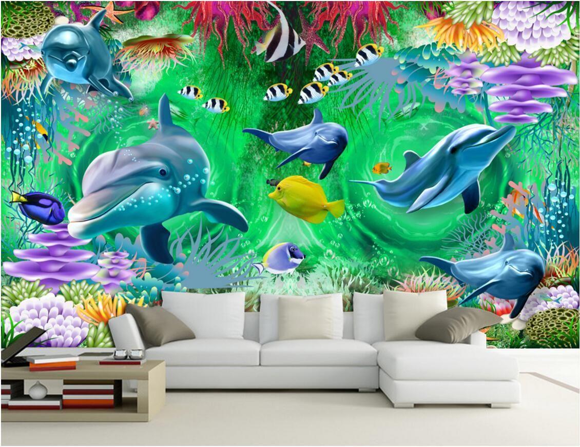 3d tapete benutzerdefinierte foto vlies wandbild Swirl die unterwasserwelt delphin dekoration malerei 3d wandbilder wallpaper für wände 3 d