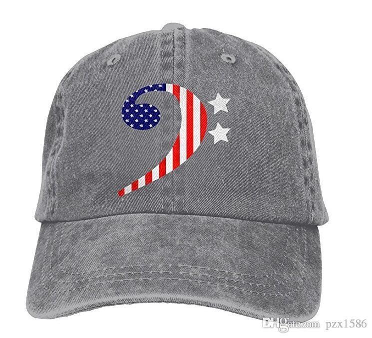 Pzx @ Beyzbol Şapkası Erkekler Kadınlar için, amerikan Bas Clef Unisex Pamuk Ayarlanabilir Denim Kap Şapka Çok renkli isteğe bağlı