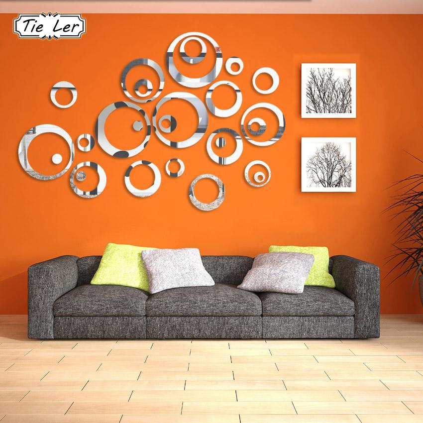 24PCS/4 Sets 3D Mirror Acrylic Wall Stickers Creative Circle Ring Bedroom Decors for Family Decoration Adhesive  Home Decal