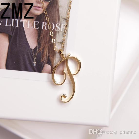 10pcs/lot 2018 HongKong hot-selling English letter pendant cute letter P text necklace gift for girls outdoor jewelry