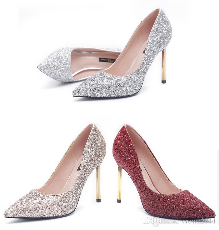 7c87399b6894f Fashion Sequin Wedding Shoes 4 Inch High Heels Designer Bridal Shoes  Pointed Toe Party Prom Women Shoes Burgundy Gold Silver Cheap Ivory Bridal  Shoes ...
