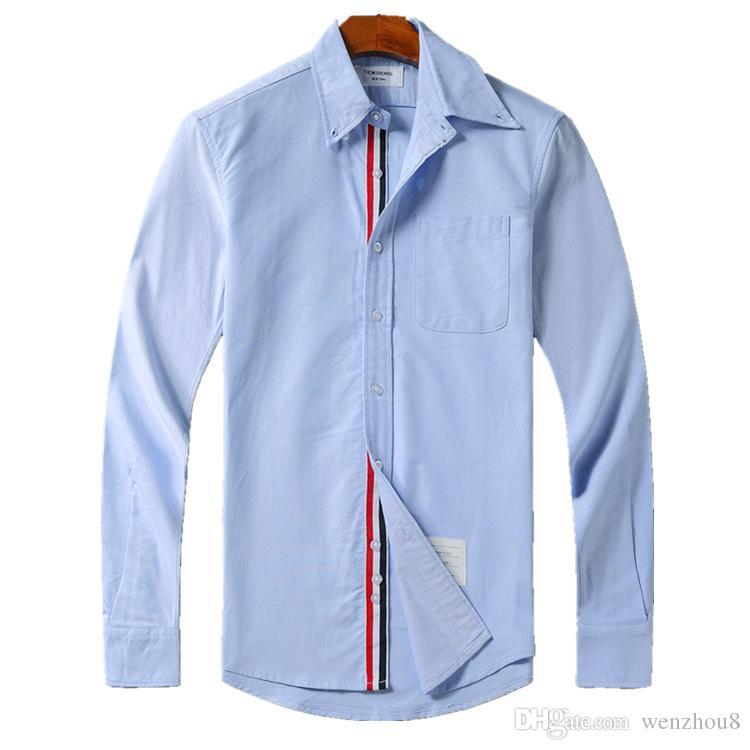 18SS ثوم كلاسيكي رجالي مصمم القمصان ثلاثي اللون الشريط أزياء طويلة الأكمام السل الزى براون البلوز للرجل صديقة