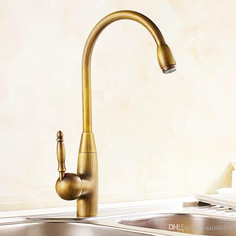 2019 Kitchen Faucet Single Hole Antique Brass Kitchen Sink Faucet Vanity Swivel Mixer Water Tap Rotate Spout Cozinha From Saintlotus 81 88