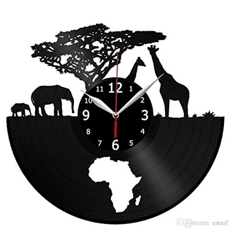 Africain animal vinyle horloge murale décoration de la maison moderne artisanat créatif cadeau fait main salon décoration mur art noir horloge à quartz