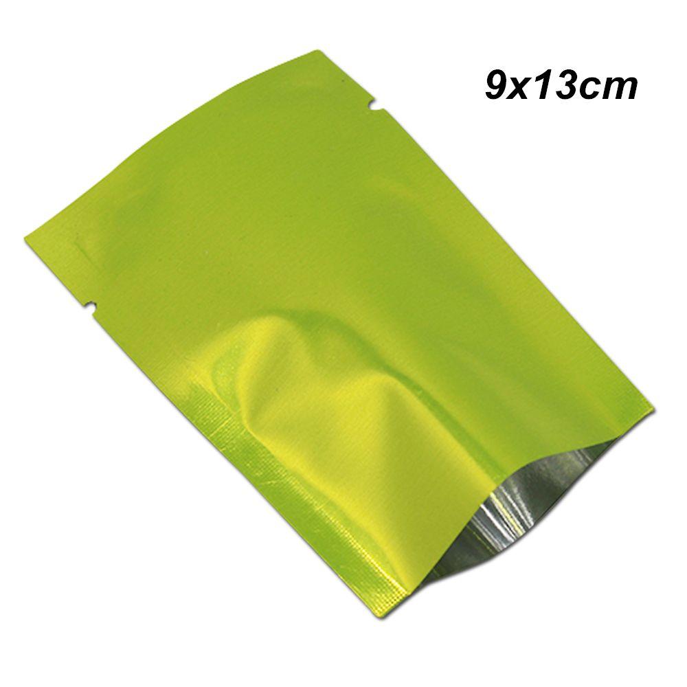 Sacs à emballer de joint thermique de vide de papier d'aluminium de valve de nourriture de dessus de vert de 9x13cm