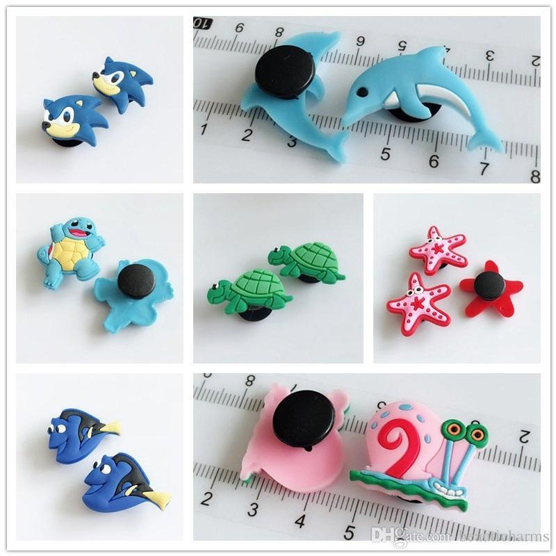 10PCs PVC Sea Animals Shoe Charms Popular Streetsnap DIY Children Hole Shoes Cross Bracelets Kids Gifts