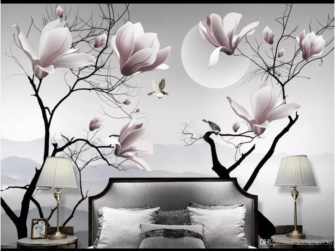 도매 -3D 사진 벽지 사용자 정의 3D 벽 벽화 벽지 새로운 중국어 목련 꽃 버드 벽 장식 벽면 벽지