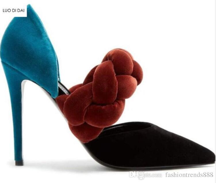 2018 Novas mulheres de veludo de salto alto sapatos de salto fino mix cor bombas partido sapatos de salto fino ponto toe bombas vestido sapatos grossos sapatos de corda