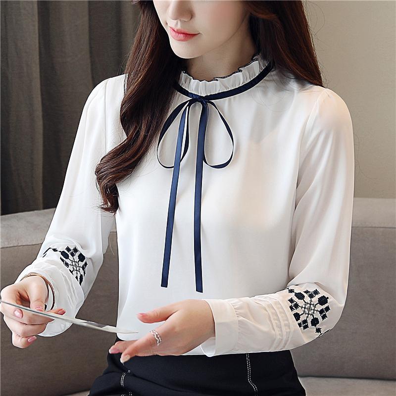 Kadın Bluzlar Gömlek Biboyamall Kadınlar Tops Kadın Moda Bayanlar Uzun Kollu Casual Şifon Bluz 2021 İş Giyim Ofis Blusas Femininas