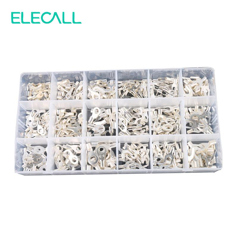 420Pcs/Box 18 In 1 Terminals Non-Insulated Ring Fork U-type Brass Terminals Assortment Kit Cable Wire Connector Crimp Spade Set