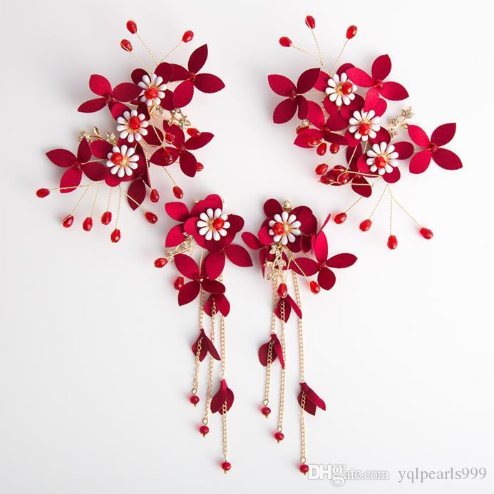 Nakrycia głowy Bridal Red Handmade Hairpin Kwiat Głowy Kwiat Handmade Akcesoria Ślubne Dress Flower Ornament