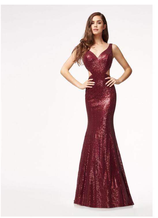 Compre Vestidos Formales De Moda Para Mujer 2018 Lentejuelas De Otoño Gasa Split Longitud Del Piso Vestido Largo Sin Espalda Sexy Vestido De Fiesta De