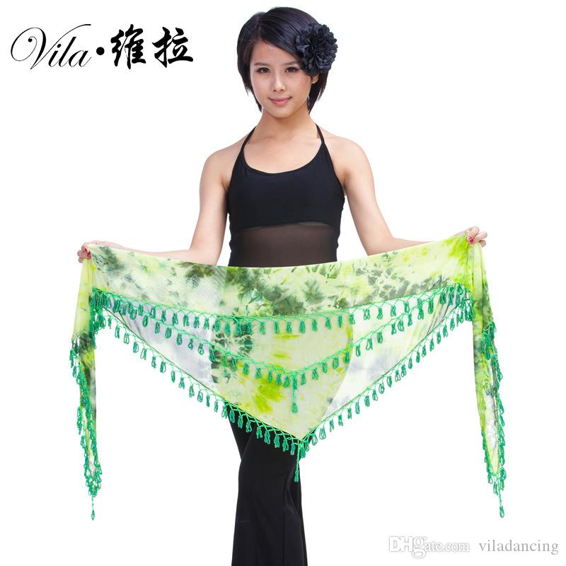 8 Colors Belly Dance Practice Accessories Stretchy Long Tassel Triangle Belt Belly Dance Hip Scarf high quality dancing belt