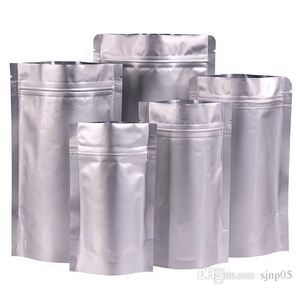 알루미늄 호 일 가방 지퍼 잠금 주머니 Mylar 플라스틱 Resealable 스탠드 최대 호 일 가방 은색 식품 차 작은 부품 포장