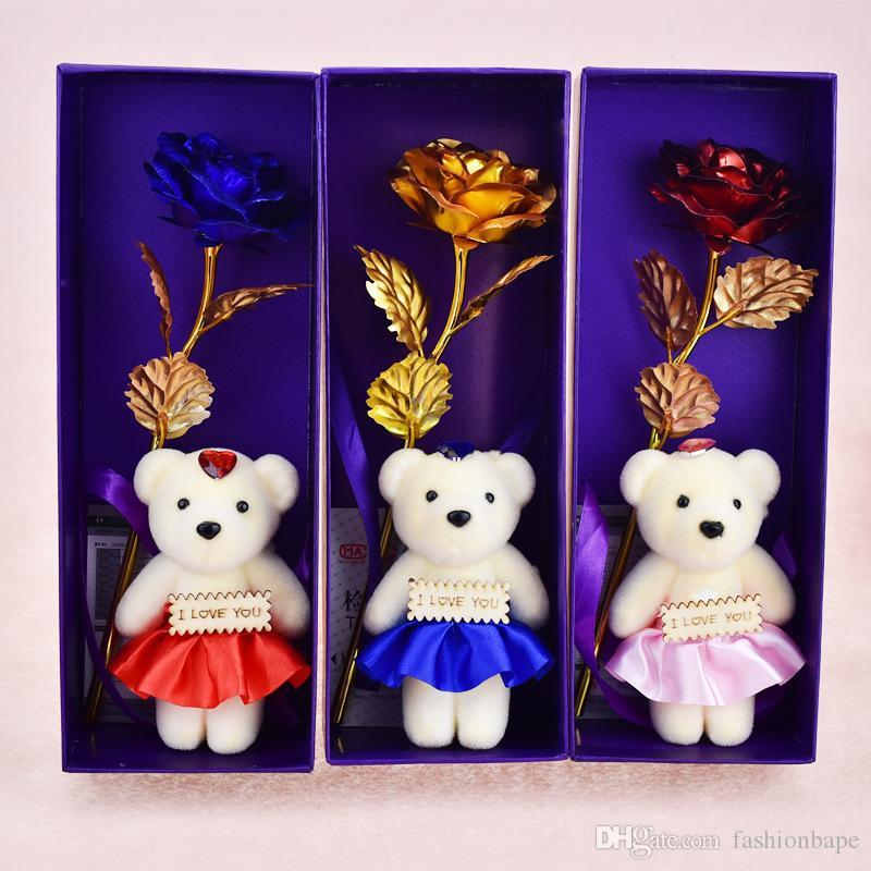 24K Golden Rose Carnation Flower Mother's Day Birthday Gift Wedding Decoration Best Present For Valentine's Day Gift For Girlfriend