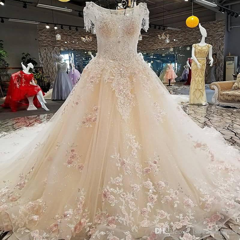 Latest Design Wedding Dress See Through Back Cap Sleeves Lace A-line Toyal Train Beading Wedding Dresses Real Photo