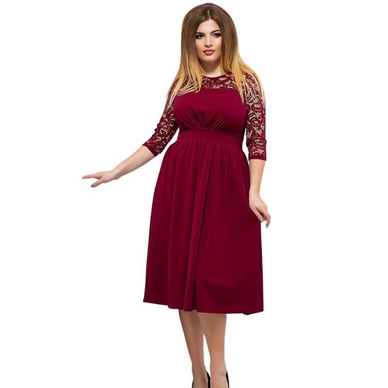 2019 Red Christmas Dress Plus Size Women Lace Dress Elegant Winter Bodycon  Midi Party Female 5XL 6XL Big Vestidos 2018 From Songzhi, $31.68 | ...