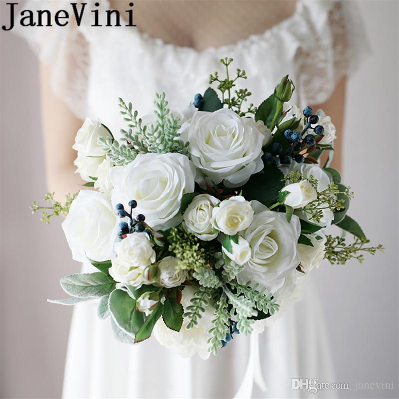 Fiori Da Sposa.Acquista Janevini Vintage Bianco Bouquet Da Sposa Fiori Da Sposa