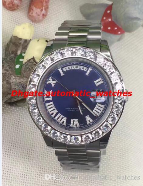 럭셔리 손목 시계 놀라운 Mens Day-Date II 18k 41MM President 화이트 골드 빅 다이아몬드 세라믹 베젤 자동 기계 남성용 시계