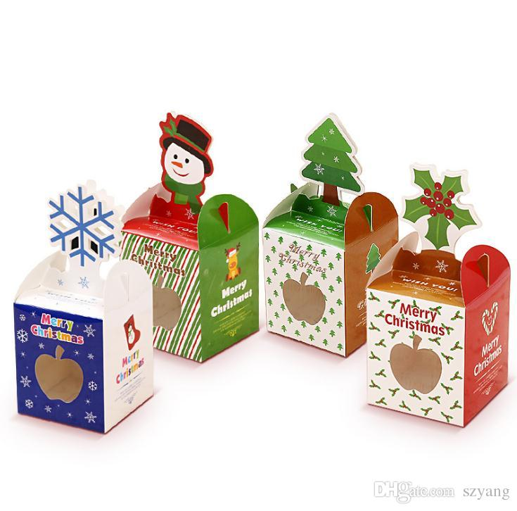 christmas series cupcake boxes biscuit packing box 10piece=1bag more style size 8.5*8.5*20cm Baked pastry candy gift box SN2025