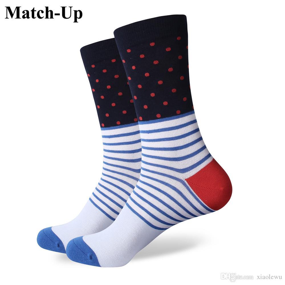 2016 homens de algodão penteado marca meias masculinas, ponto colorido meias, grátis para frete, tamanho dos EUA (7.5-12) 299
