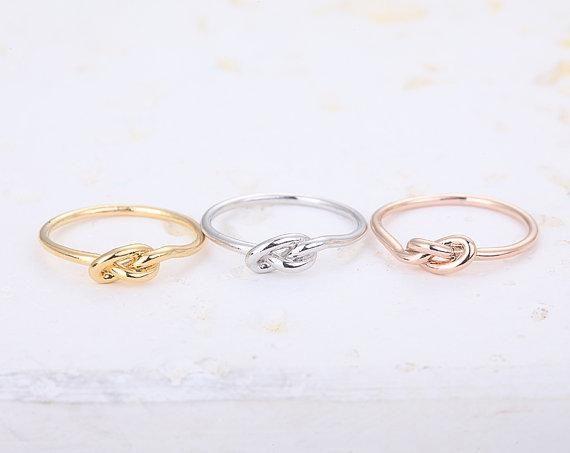 2016 New Arrival Hot Min 1 pc-ouro, prata, rosa de ouro Infinito Nó Anel, nó coração anéis para as mulheres EY-R022