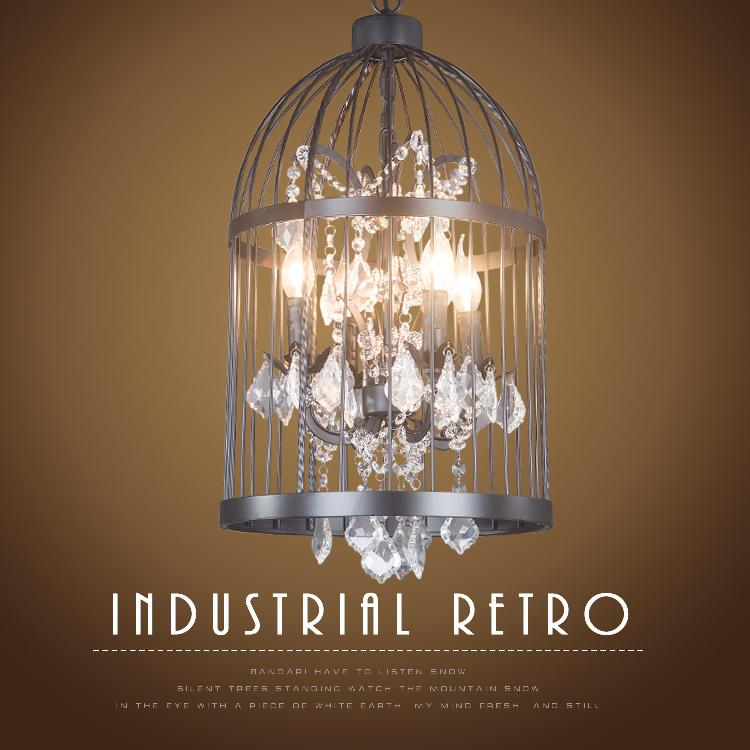 American loft iron retro bird cage Pendant Light crystal hotel lobby light restaurant lamp villa stairs Pendant Lights