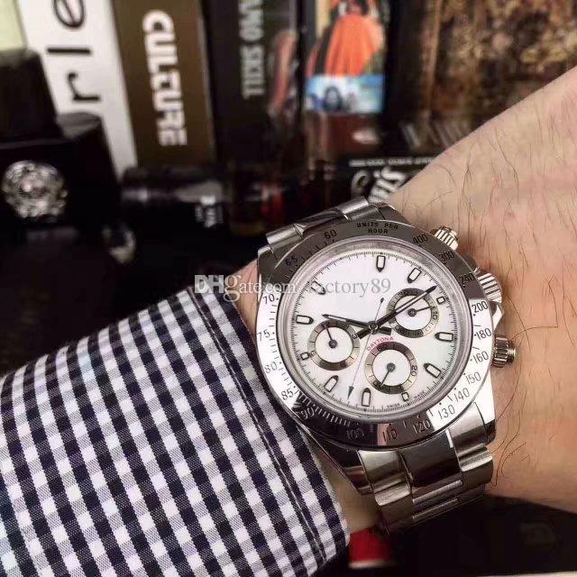 4-Farben-Luxus-Qualitäts-Uhr 40mm Cosmograph Edelstahl Chronograph mechanische automatische Herrenuhr