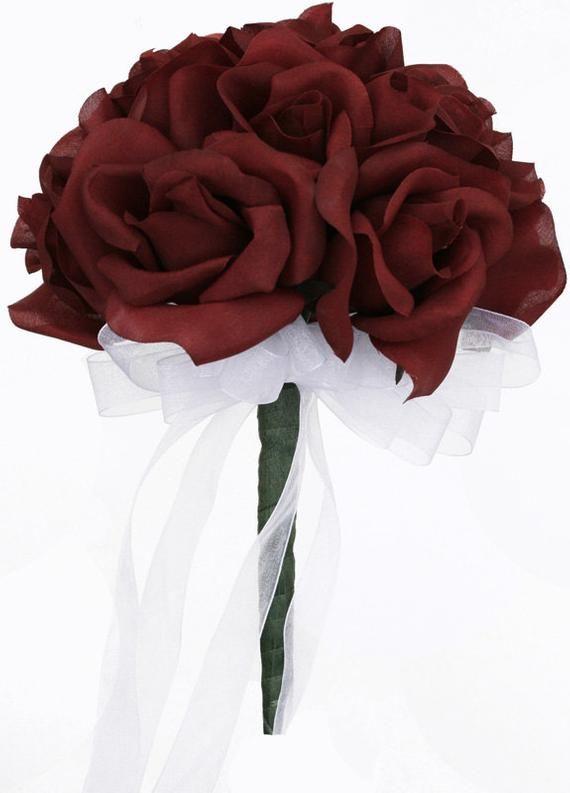 12 Burgunder Rosen - Seidenblume Brautstrauß Brautjungfer Blumenstrauß Hochzeit Blume De Mariage Rose