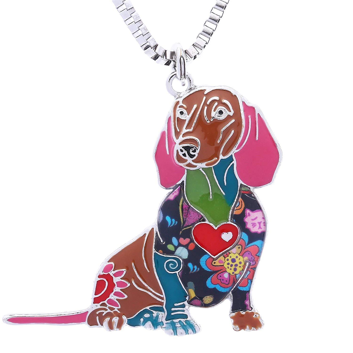 Novelty Dachshund Gifts Necklace for Women Personalized Dog Lovers Pets Pendants Jewelry Can be Used as Car Keychain