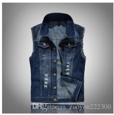 Cool Lok nova versão coreana, jeans estilo slim, colete, colete grande, colete, buraco, moda, colete azul dos homens.