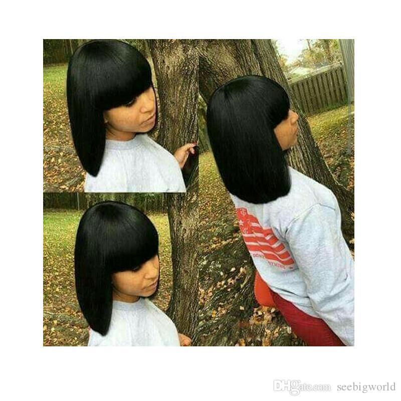 короткие Боб прямые парики бразильские волосы моделирования человеческих волос парик Боб короткие прямые парик для леди
