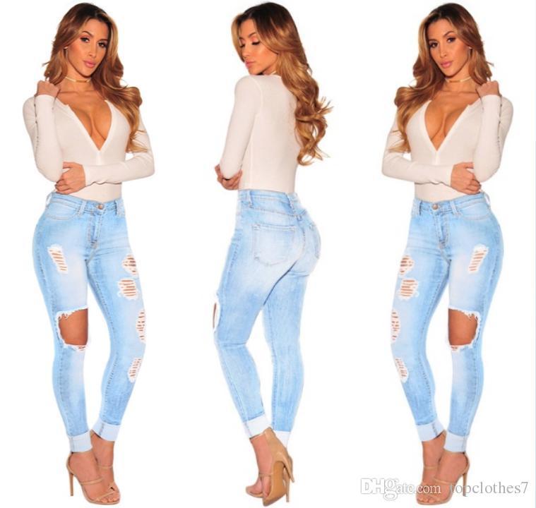 Venta caliente Ripped Jeans Denim Joggers Agujeros de rodilla Slim Fit Jeans Para mujeres Blue Rock Star Jumpsuit para mujer Jeans destruidos Boyfriend Lápiz