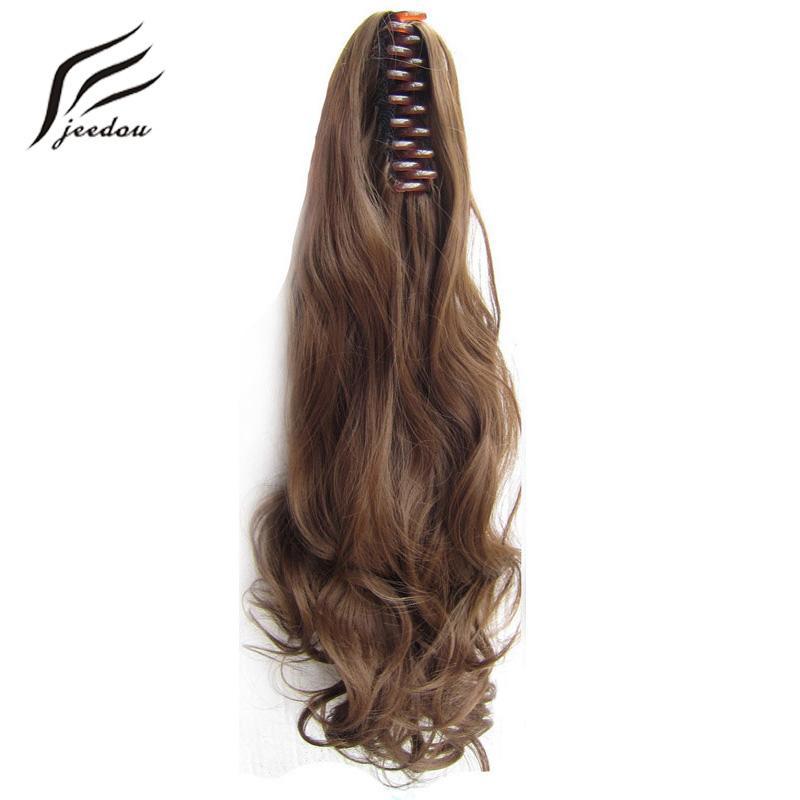 """Jeedou Pençe At Kuyruğu Dalgalı Sentetik Saç 22 """"55 cm 170g Sarışın Kestane Kahverengi Renk Doğal Ponytails Saç Uzantıları Hairpieces"""